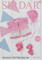 Sirdar Snuggly Pattercake DK Crochet Pattern - 4920 Cardigan, Bonnet, Mittens & Bootees